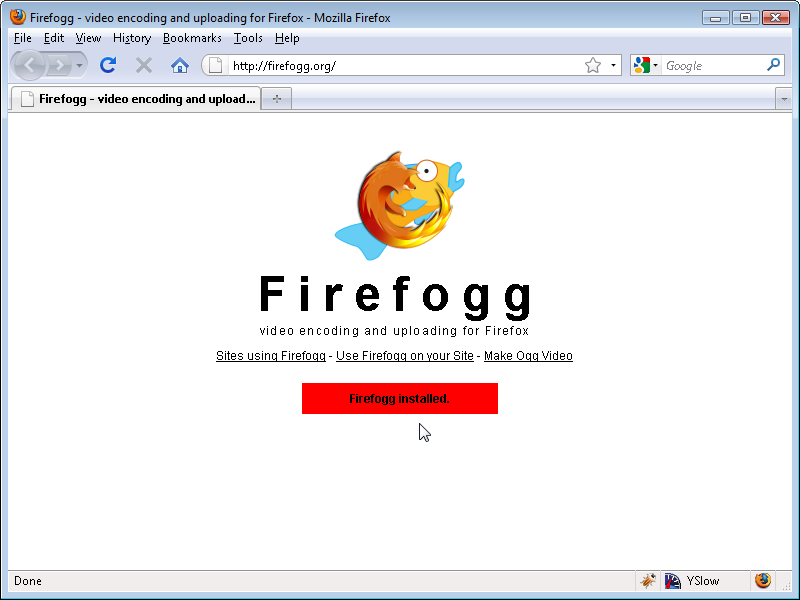 Firefogg home page after installation