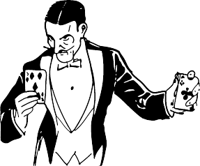 magician performing a card trick