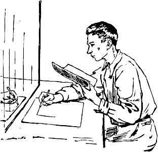 man drawing in front of a mirror